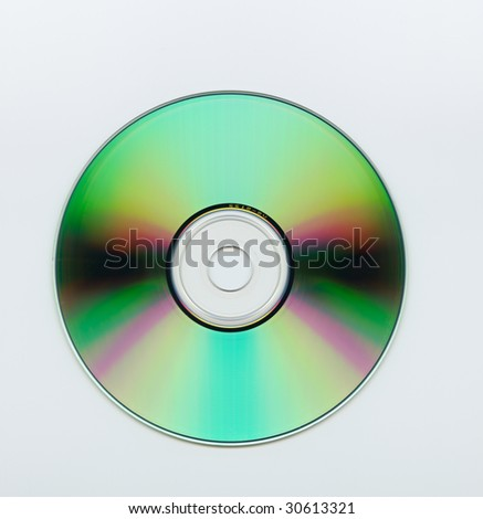 Extreme close up of a blank cd over white background