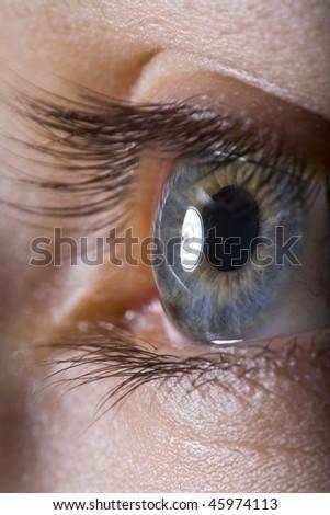 extreme close up of eye - stock photo