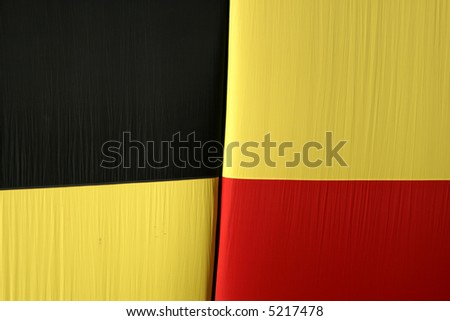Extreme close up of hot air balloon - also colors of German national flag - stock photo