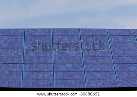 Extreme close up of new building with solar panels