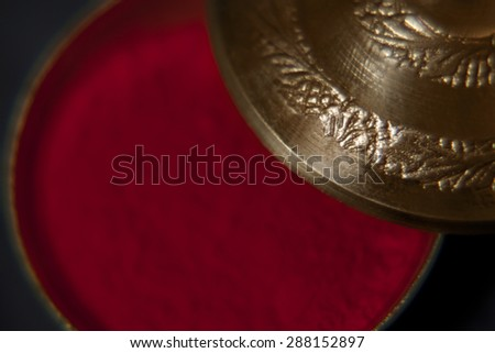 Extreme close-up of red sindoor