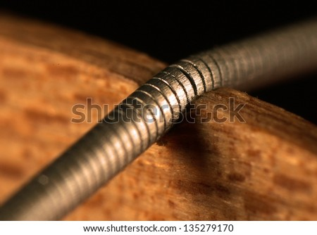 extreme close up of violin string over bridge
