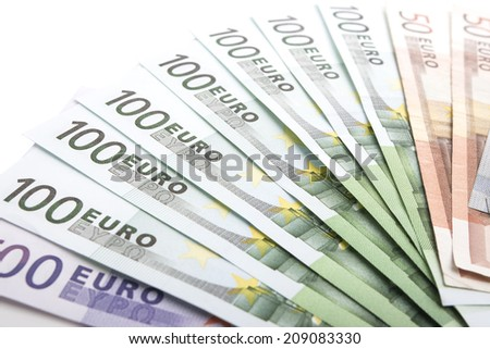 Extreme Close-up Pattern Made of Euro  Currency Banknotes. Over White Background. Horizontal Image - stock photo