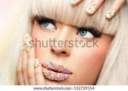 Extreme close up portrait of beauty fantasy make up. - stock photo