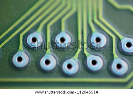 Extreme close up shot of circuit board - stock photo