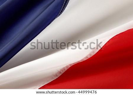 Extreme close up shot of wavy French flag - stock photo