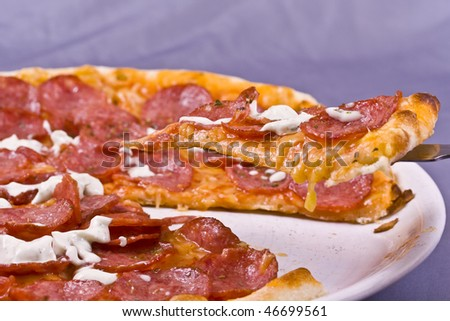 Extreme close-up view of a section of a pizza