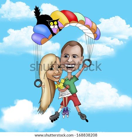 Extreme couple with parachute