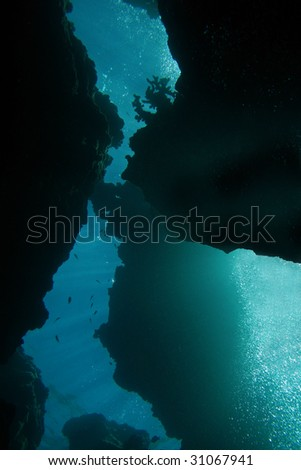 Extreme diving in a cave labyrinth - stock photo