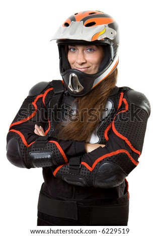 Extreme girl in body-armour with full-face helmet