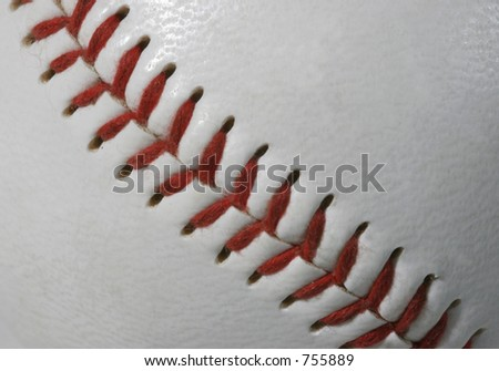 Extreme macro of a baseball seams and stitches
