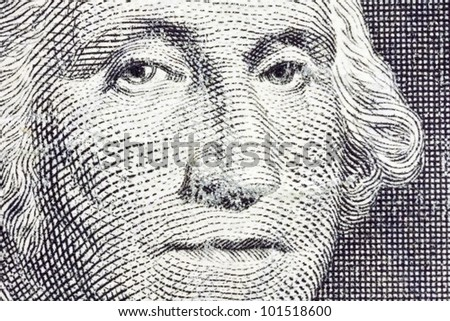 Extreme Macro of George Washington on the US Dollar Bill. - stock photo