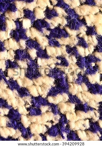 Extreme macro of the white and blue textile fibres. Fibre structure. Textile structure.