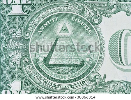 Extreme macro shot of a one dollar bill. - stock photo