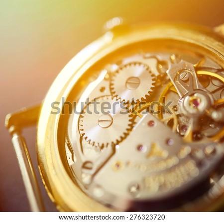 Extreme macro shot of watch mechanism - stock photo