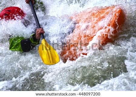 Extreme river kayaking as fun sport - stock photo