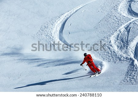 Extreme skier in fresh powder snow, Utah, USA. - stock photo