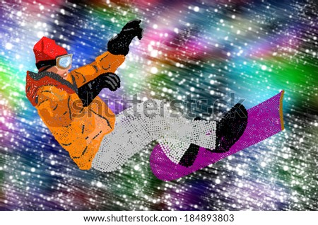 Extreme Snowboarding.Holiday Sport.Freestyle Skiing.Mountain skiing