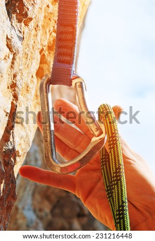 Extreme sport. Equipment for climbing - stock photo