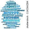 extreme sport info-text graphics and arrangement concept on white background (word cloud) - stock