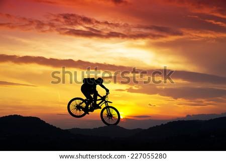 extreme sport on the mountain - stock photo