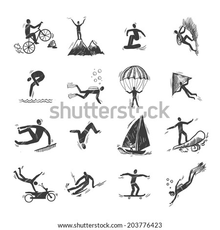 Extreme sports icons sketch of diving climbing sailing isolated doodle  illustration