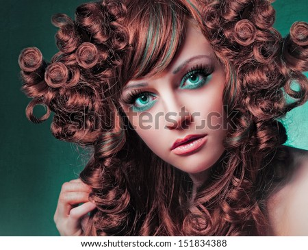 Extreme styling portrait - stock photo