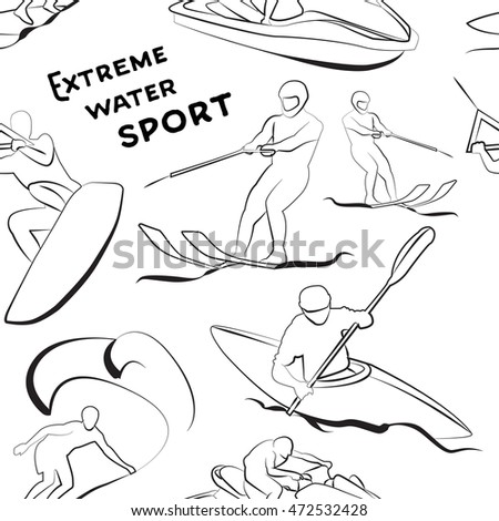 Extreme water sports pattern.