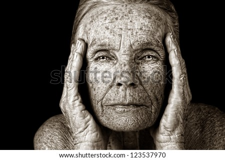 Extremely beautiful Image of a elderly woman model - stock photo