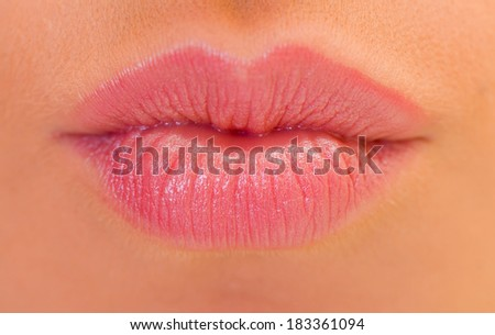 Extremely close up of a beautiful lips - stock photo