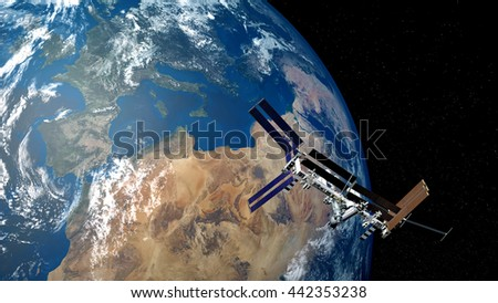Extremely detailed and realistic high resolution 3D image of ISS - space station orbiting earth. Shot from outer space . Elements of this image are furnished by NASA. - stock photo