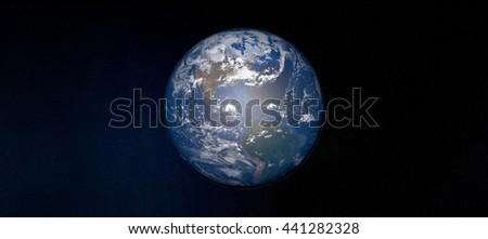 Extremely detailed 3D image of earth with centered perspective - taken from space with focus on America. Elements of this image are furnished by NASA. - stock photo