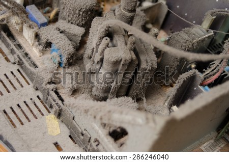 extremely dusty electronics appliance - stock photo