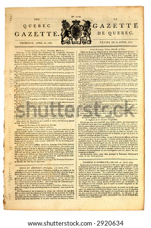 Extremely early Canadian newspaper of  1804. - stock photo