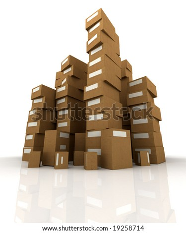 Extremely high  piles of cardboard boxes in equilibrium - stock photo