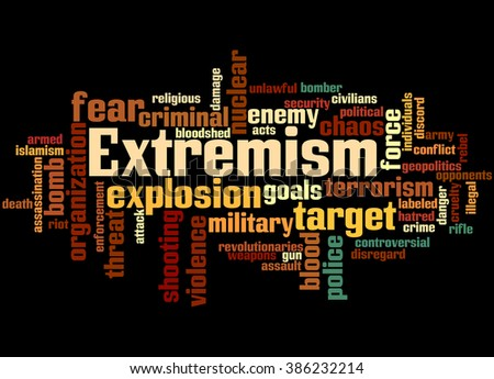 Extremism, word cloud concept on black background.