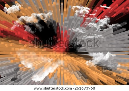 Extruded Design, Perspective and Clouds  - stock photo