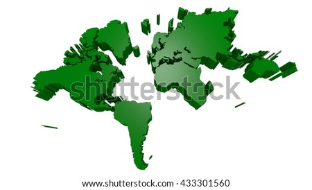 extruded earth landmasses in a simple 3d illustration, - stock photo