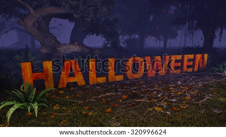 Extruded Halloween text in a creepy night forest. Decorative 3D illustration was done from my own 3D rendering file. - stock photo