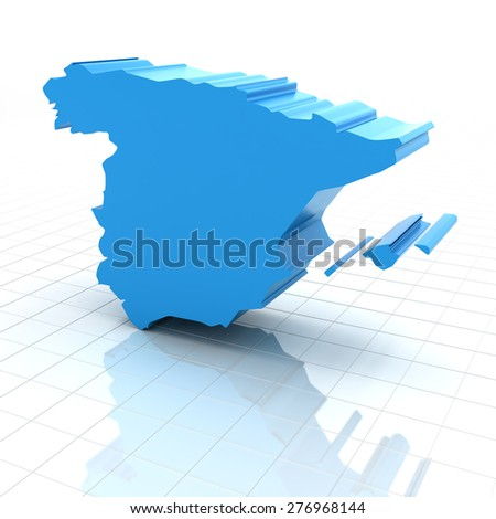 Extruded map of Spain,3d render, white background - stock photo