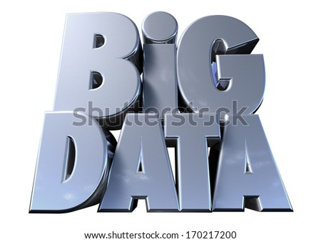 Extruded text spelling out the term Big Data on an isolated white background - stock photo