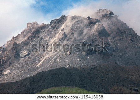 Extrusion lobes on lava dome of Soufriere Hills volcano, Montserrat, Caribbean, 2006