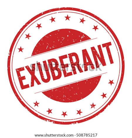 EXUBERANT stamp sign text word logo red.