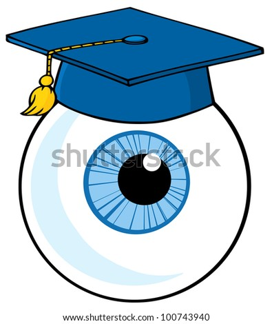Eye Ball Cartoon Character With Graduate Cap. Raster Illustration.Vector version also available in portfolio. - stock photo