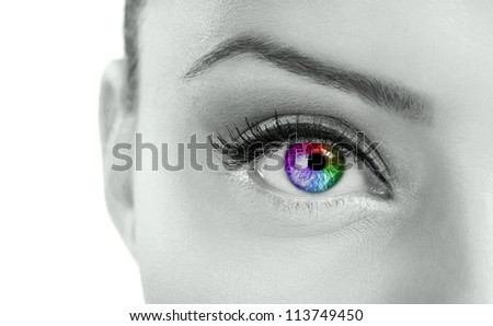eye - Beautiful  colorful eye  - rainbow color , close up - stock photo
