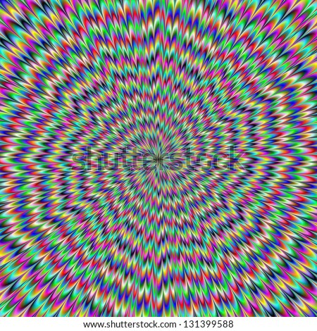 Eye Boggling / Digital abstract image with an explosion of blue red yellow green and purple producing an optical illusion of movement. - stock photo