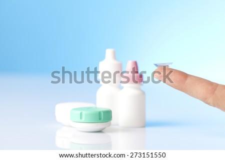 eye care liquids and contat lens - stock photo
