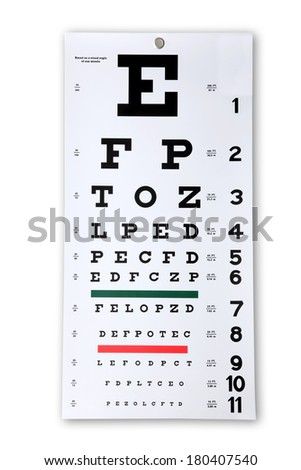 Eye chart cutout on white background - stock photo