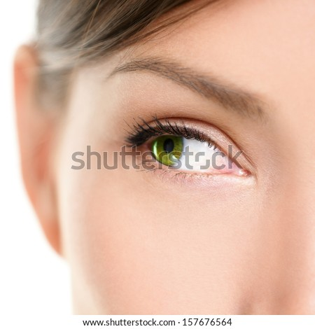 Eye Close-up looking to side. Closeup portrait of female eyes with beautiful green color looking sideways at empty white copy space. Mixed race Asian Caucasian women model. - stock photo
