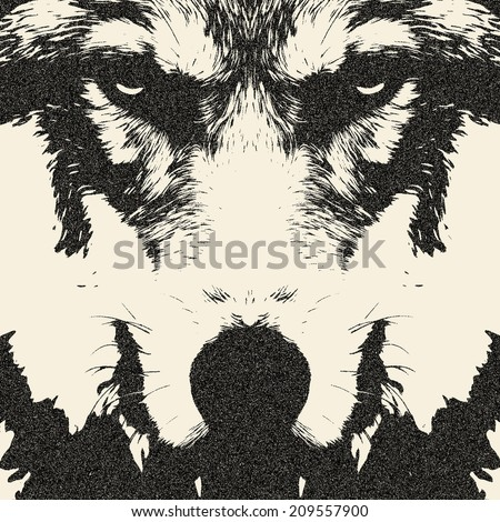 Eye contact with a severe wolf. Menacing expression and awful charm of the wolf, beautiful animal and dangerous beast. Amazing illustration in retro style. Great for user pic, icon, label or tattoo. - stock photo